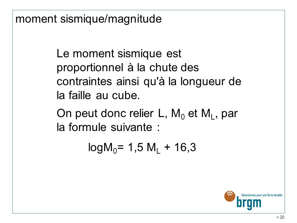 moment sismique/magnitude