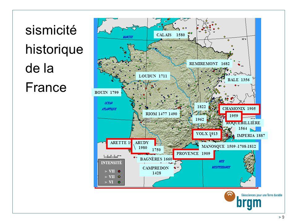 sismicité historique de la France CALAIS 1580 REMIREMONT 1682