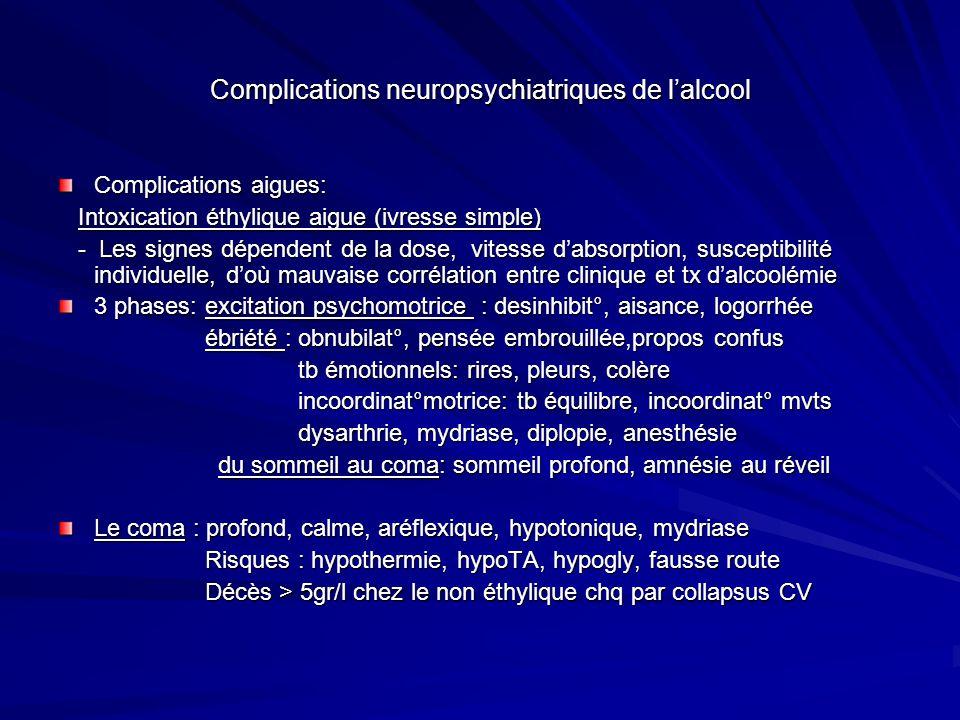 Complications neuropsychiatriques de l'alcool
