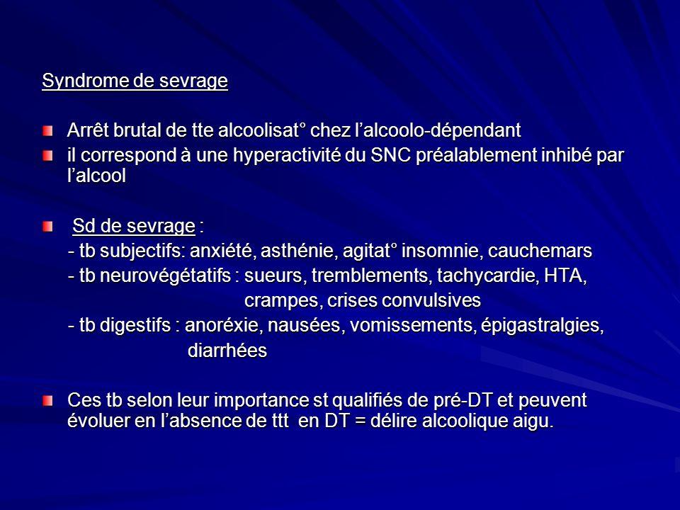 Syndrome de sevrage Arrêt brutal de tte alcoolisat° chez l'alcoolo-dépendant.