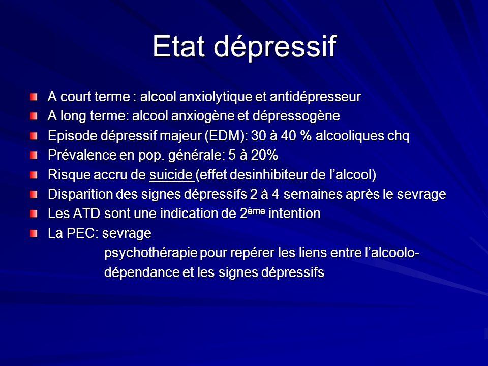 Etat dépressif A court terme : alcool anxiolytique et antidépresseur