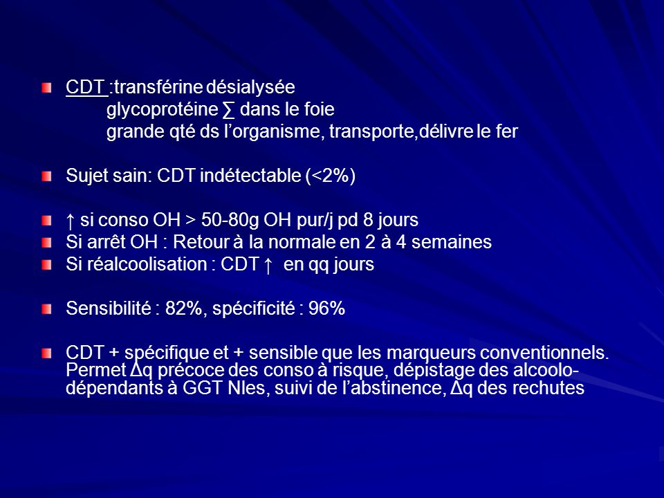 CDT :transférine désialysée