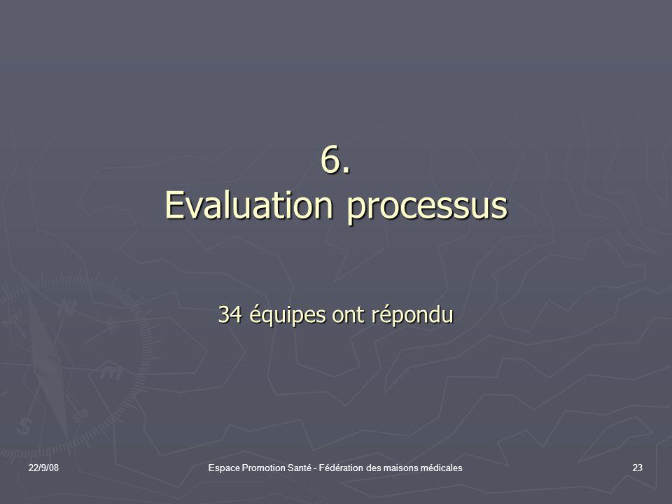 6. Evaluation processus 34 équipes ont répondu