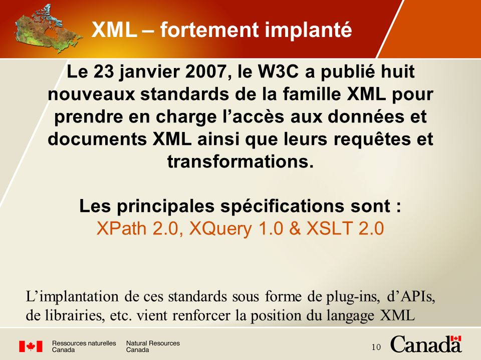 XML – fortement implanté