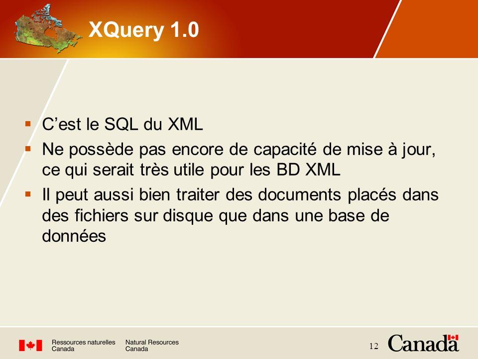 XQuery 1.0 C'est le SQL du XML