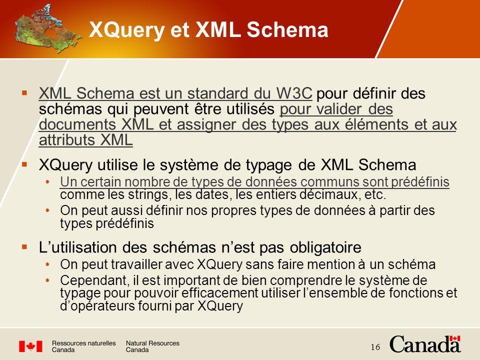 XQuery et XML Schema