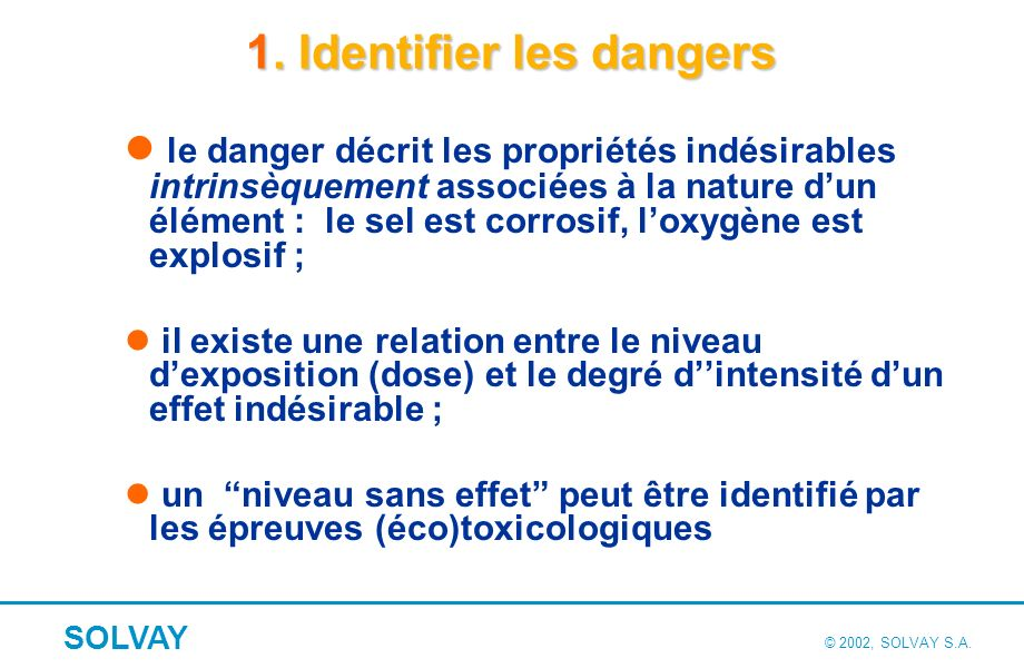 2. Evaluer les risques Le risque est lié au niveau d'exposition à une effet indésirable ;