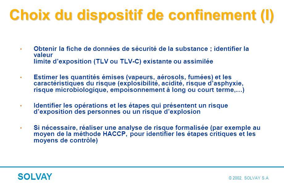 Choix du dispositif de confinement (II)