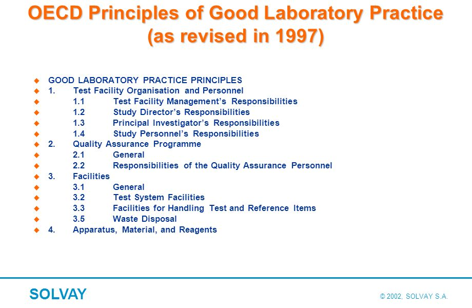 OECD Principles of Good Laboratory Practice (as revised in 1997)