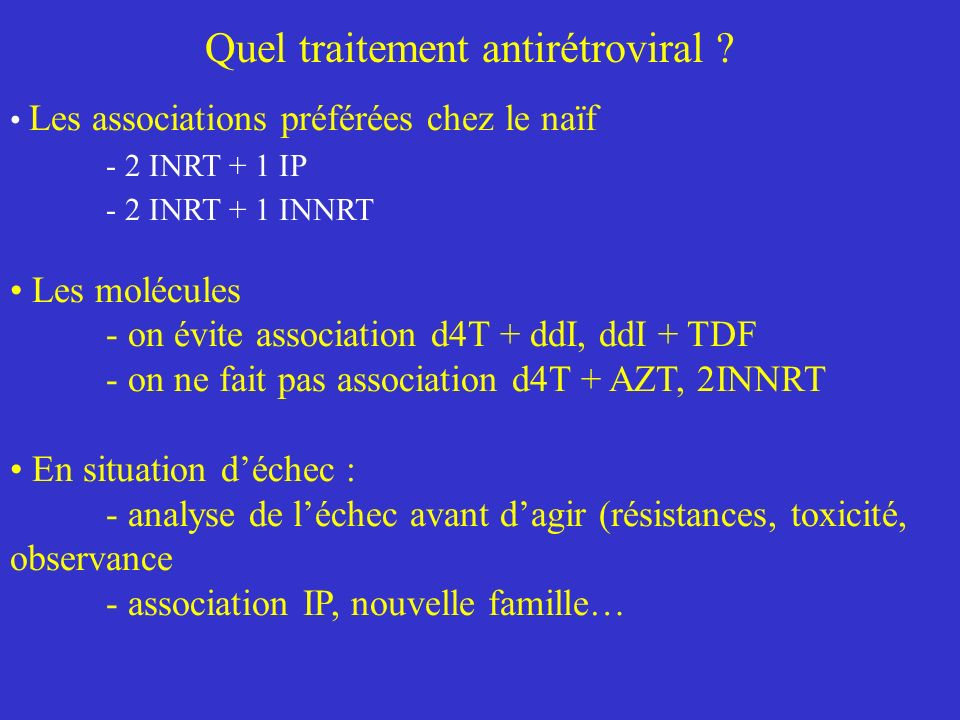 Quel traitement antirétroviral