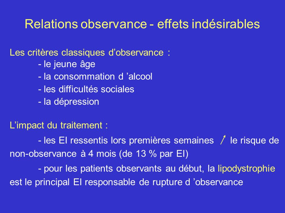 Relations observance - effets indésirables