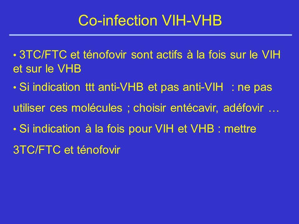 Co-infection VIH-VHB 3TC/FTC et ténofovir sont actifs à la fois sur le VIH et sur le VHB.