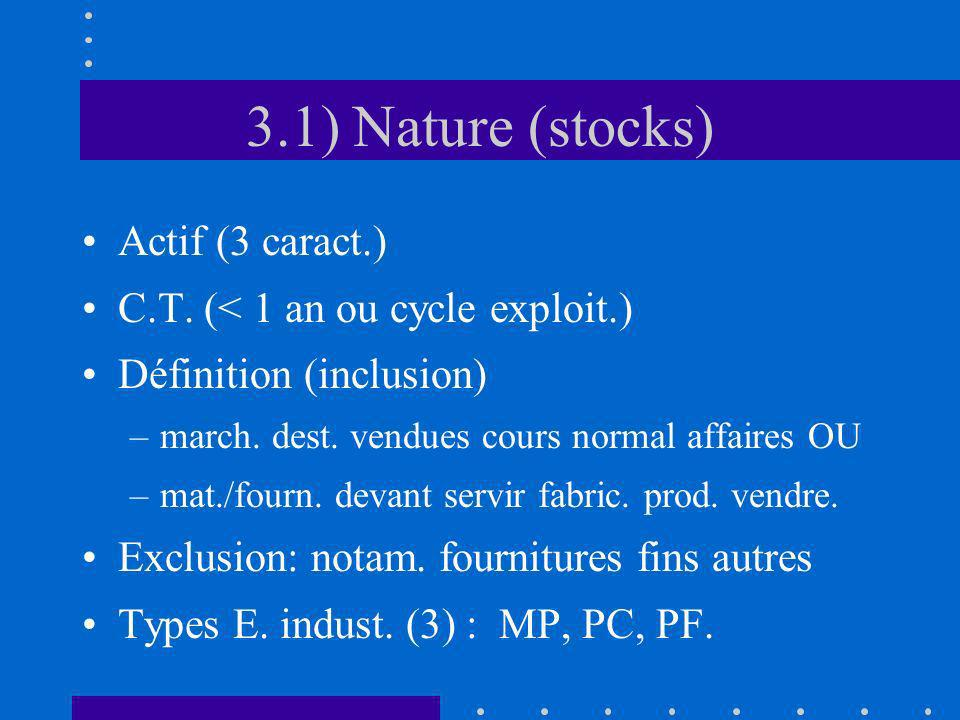 3.1) Nature (stocks) Actif (3 caract.)