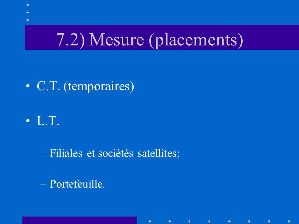 7.2) Mesure (placements) C.T. (temporaires) L.T.