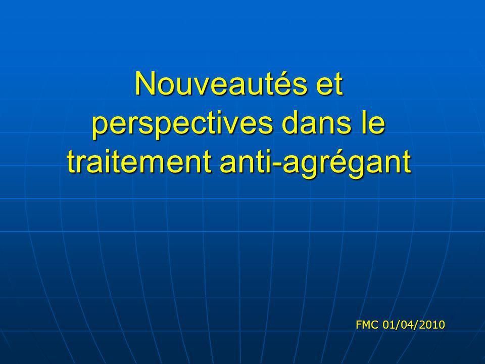 Nouveautés et perspectives dans le traitement anti-agrégant