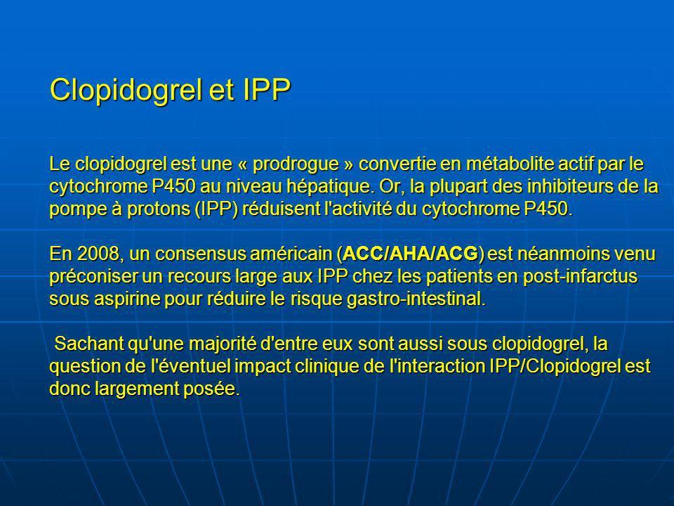 Clopidogrel et IPP Le clopidogrel est une « prodrogue » convertie en métabolite actif par le cytochrome P450 au niveau hépatique.