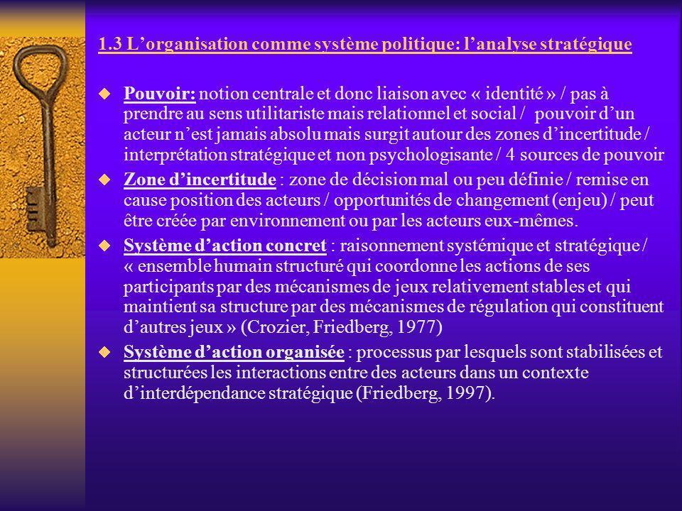 1.3 L'organisation comme système politique: l'analyse stratégique