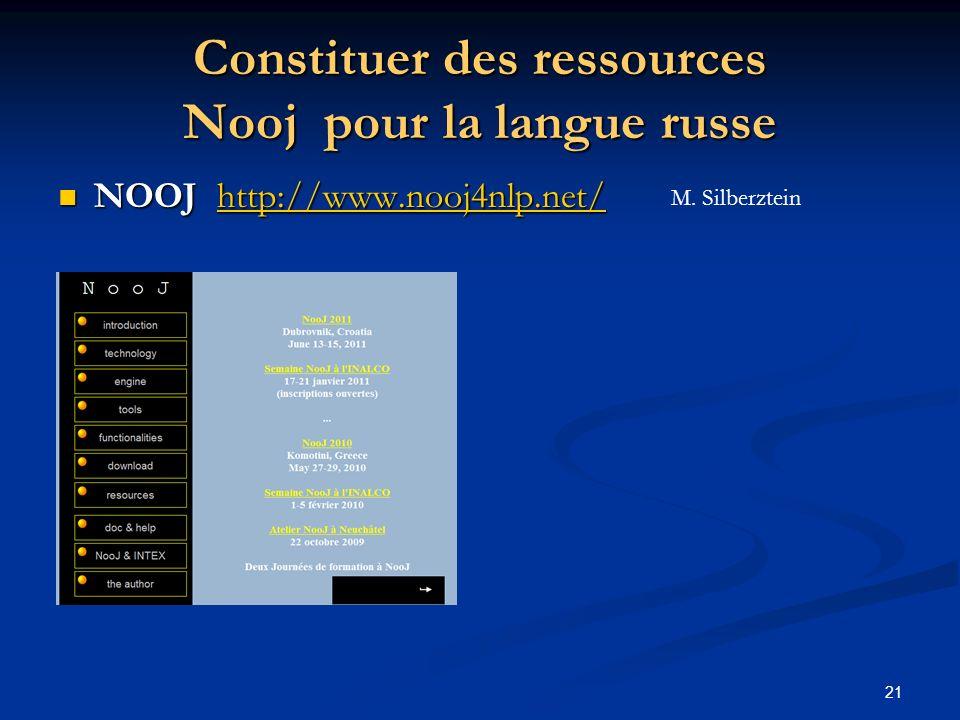Constituer des ressources Nooj pour la langue russe