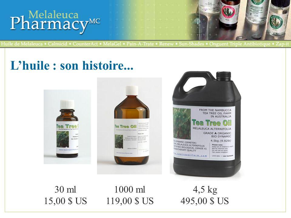 L'huile : son histoire... 30 ml 15,00 $ US 1000 ml 119,00 $ US