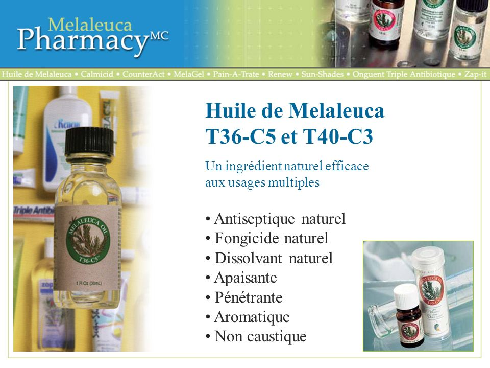 Huile de Melaleuca T36-C5 et T40-C3
