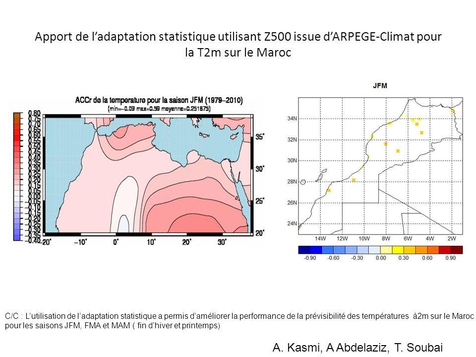 Apport de l'adaptation statistique utilisant Z500 issue d'ARPEGE-Climat pour la T2m sur le Maroc