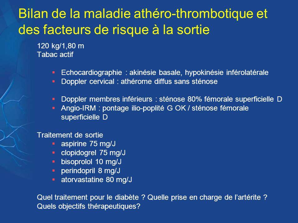 Bilan de la maladie athéro-thrombotique et des facteurs de risque à la sortie