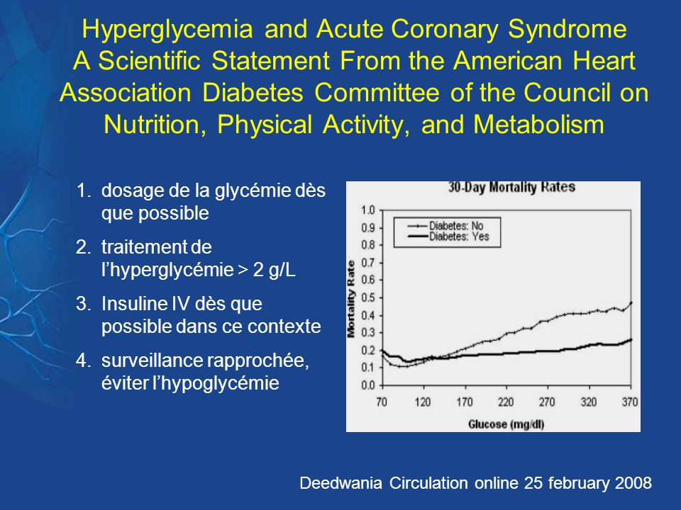 Hyperglycemia and Acute Coronary Syndrome A Scientific Statement From the American Heart Association Diabetes Committee of the Council on Nutrition, Physical Activity, and Metabolism
