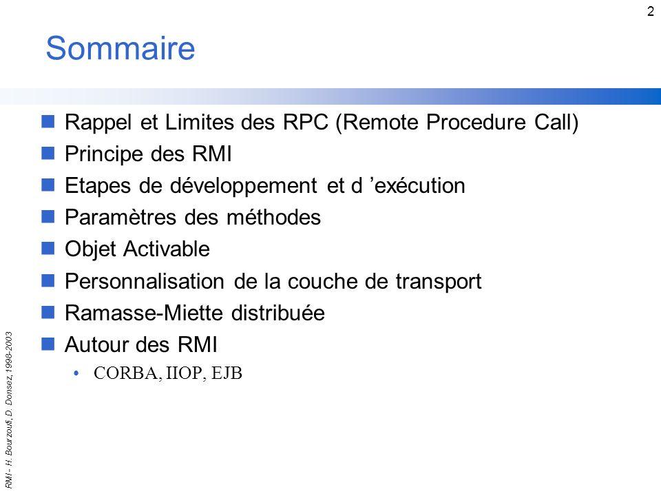 Sommaire Rappel et Limites des RPC (Remote Procedure Call)