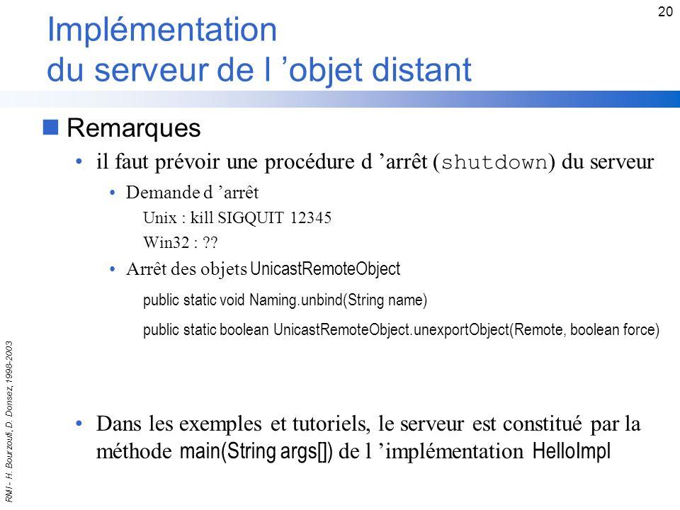 Implémentation du serveur de l 'objet distant