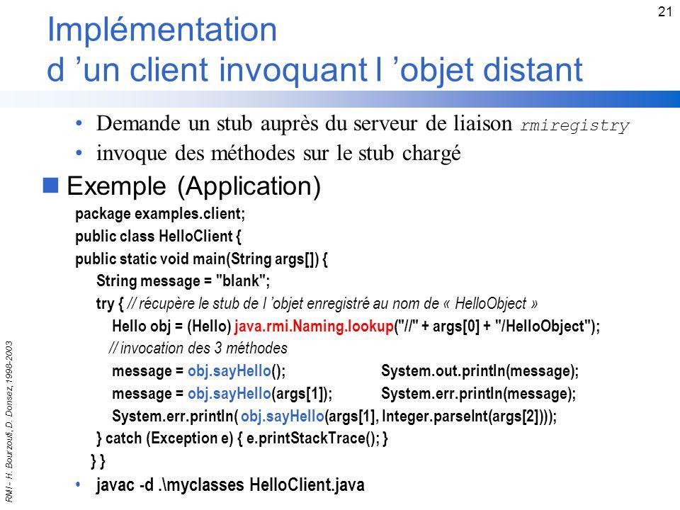 Implémentation d 'un client invoquant l 'objet distant