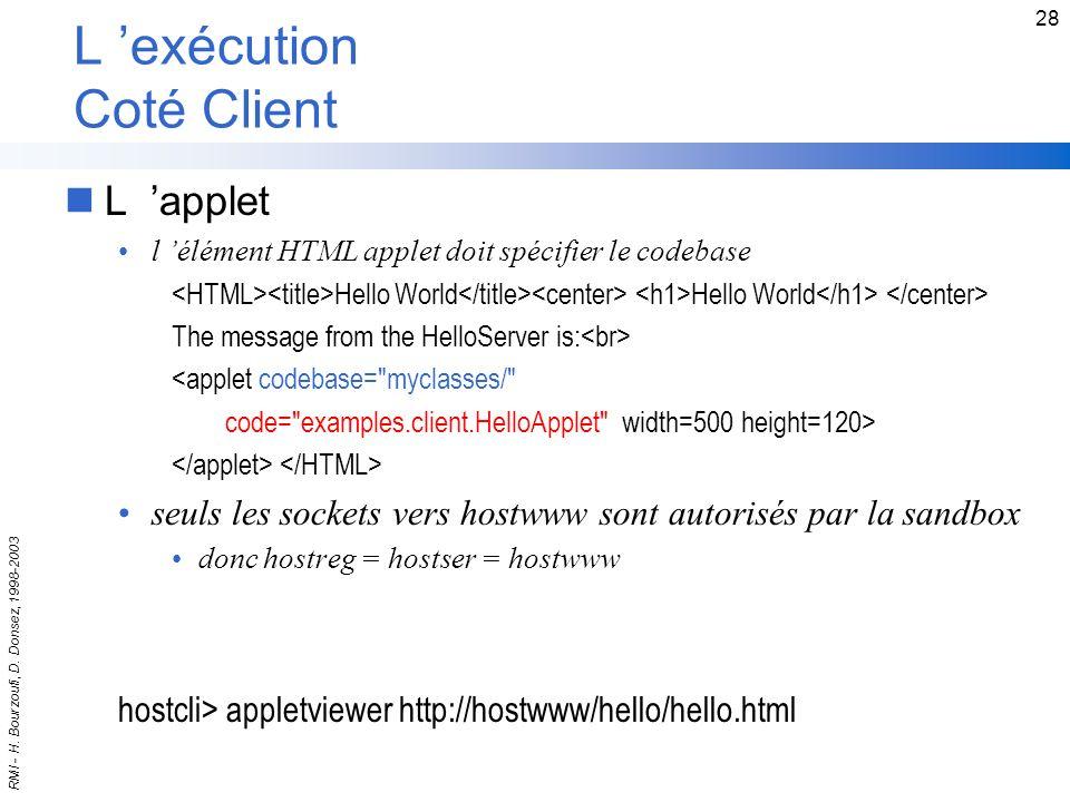L 'exécution Coté Client
