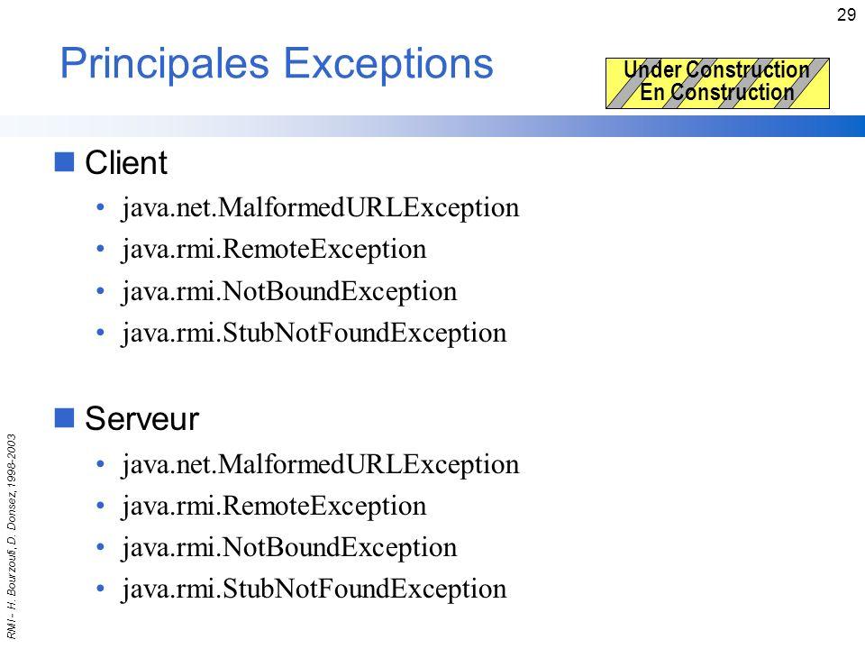 Principales Exceptions