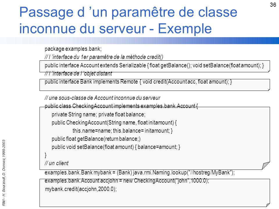 Passage d 'un paramêtre de classe inconnue du serveur - Exemple