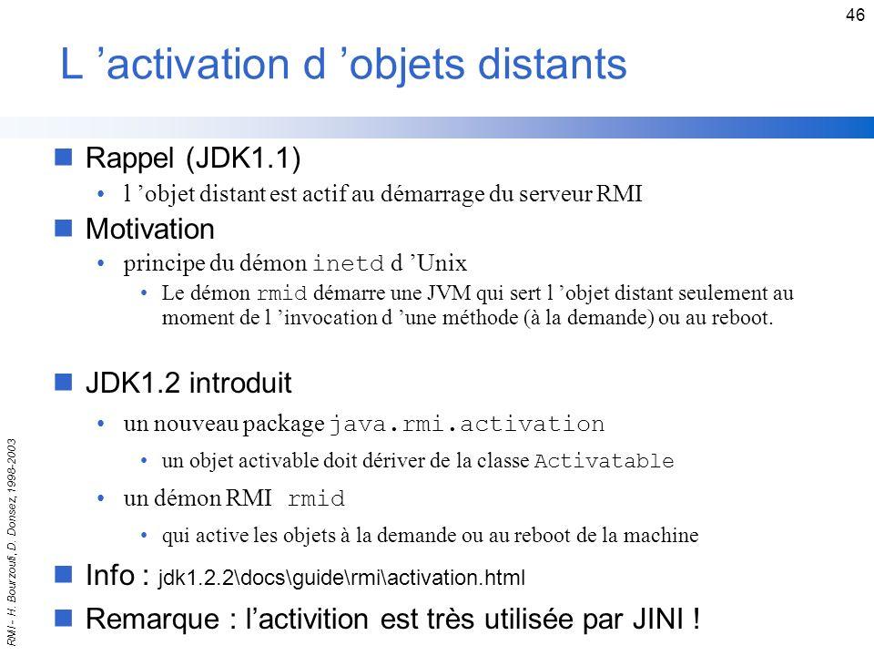 L 'activation d 'objets distants