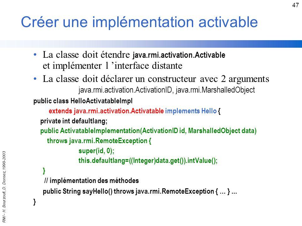 Créer une implémentation activable