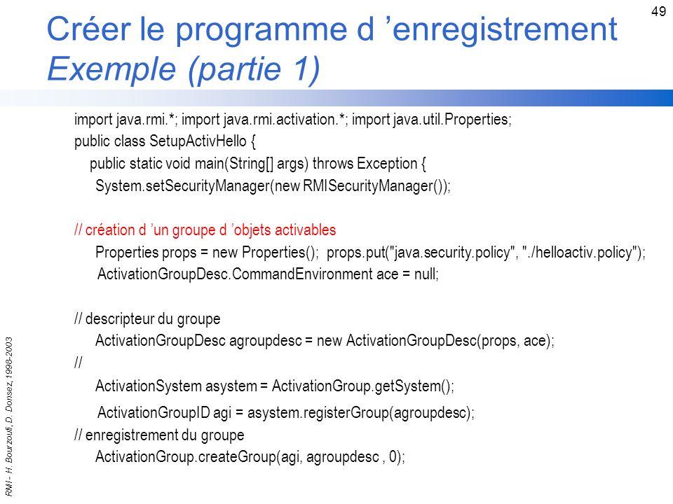 Créer le programme d 'enregistrement Exemple (partie 1)