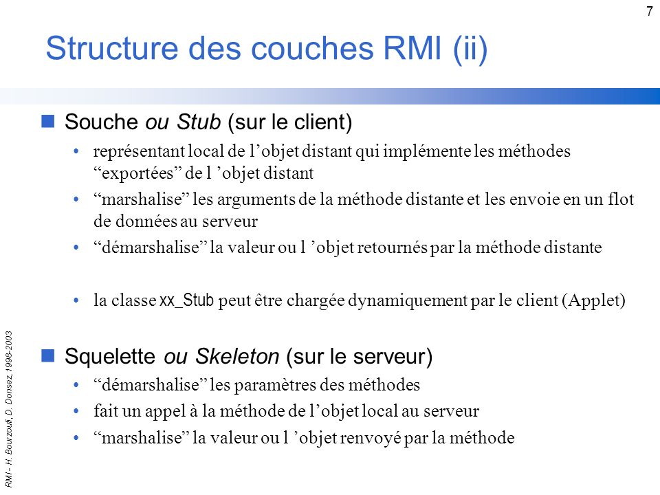 Structure des couches RMI (ii)