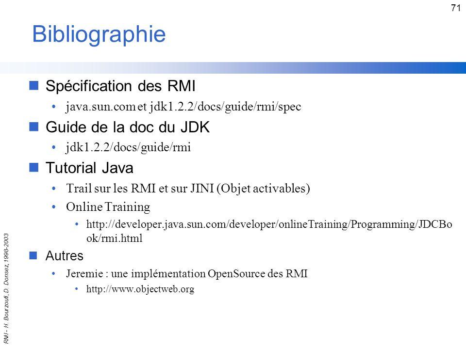 Bibliographie Spécification des RMI Guide de la doc du JDK
