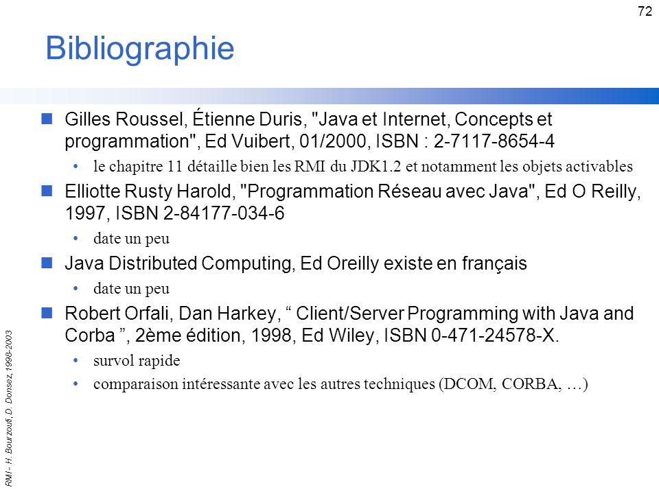 Bibliographie Gilles Roussel, Étienne Duris, Java et Internet, Concepts et programmation , Ed Vuibert, 01/2000, ISBN : 2-7117-8654-4.