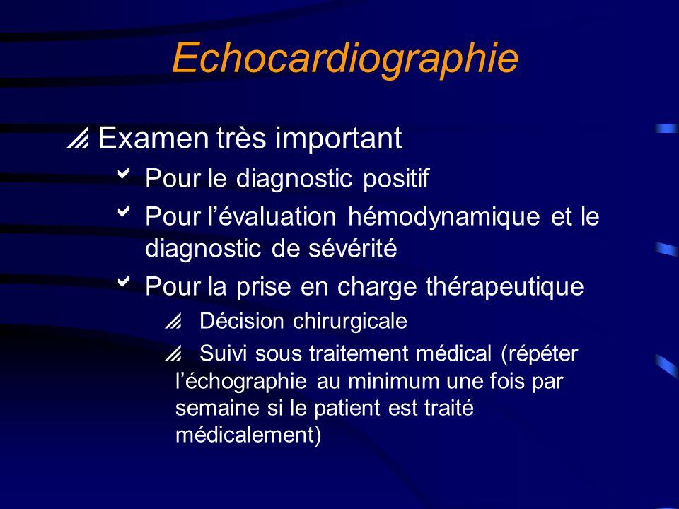 Echocardiographie Examen très important Pour le diagnostic positif