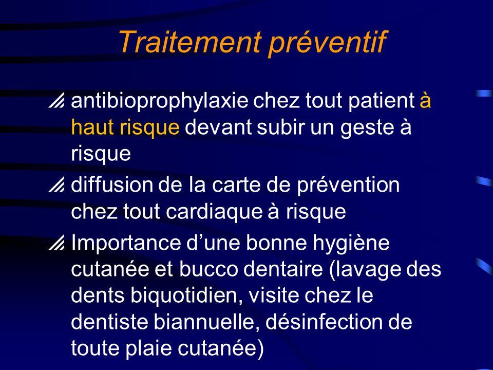 Traitement préventif antibioprophylaxie chez tout patient à haut risque devant subir un geste à risque.