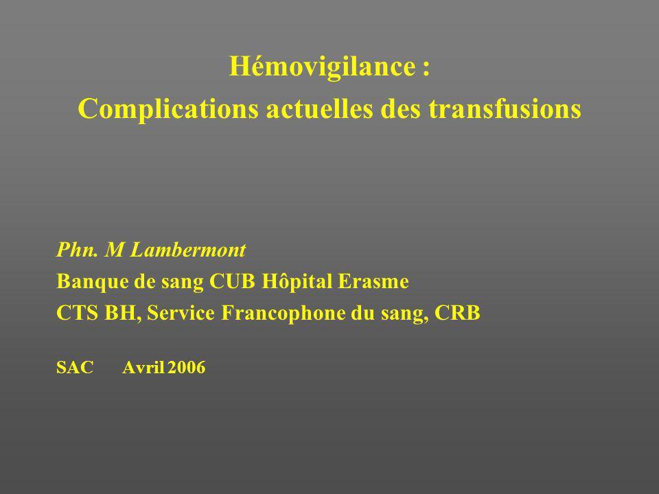 Complications actuelles des transfusions
