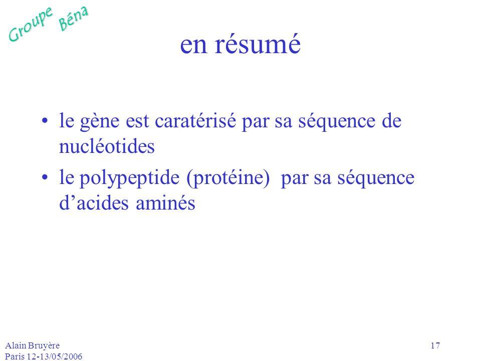 en résumé le gène est caratérisé par sa séquence de nucléotides