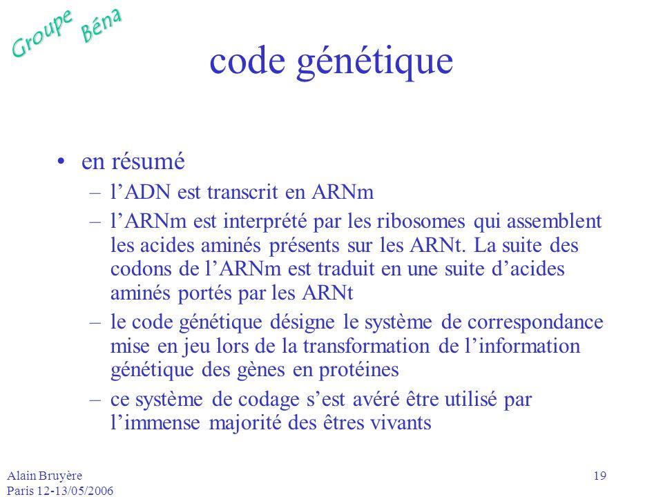 code génétique en résumé l'ADN est transcrit en ARNm