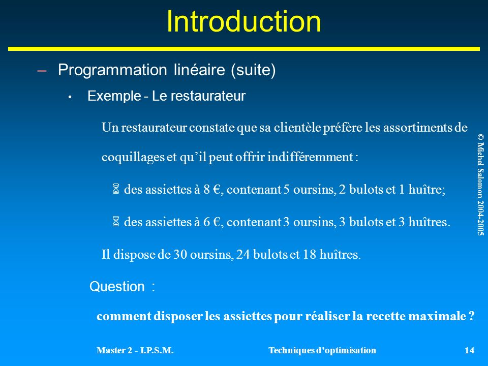 Introduction Programmation linéaire (suite) Exemple - Le restaurateur