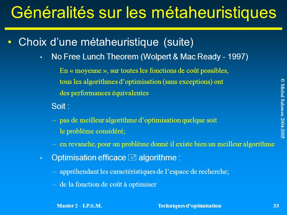 Généralités sur les métaheuristiques