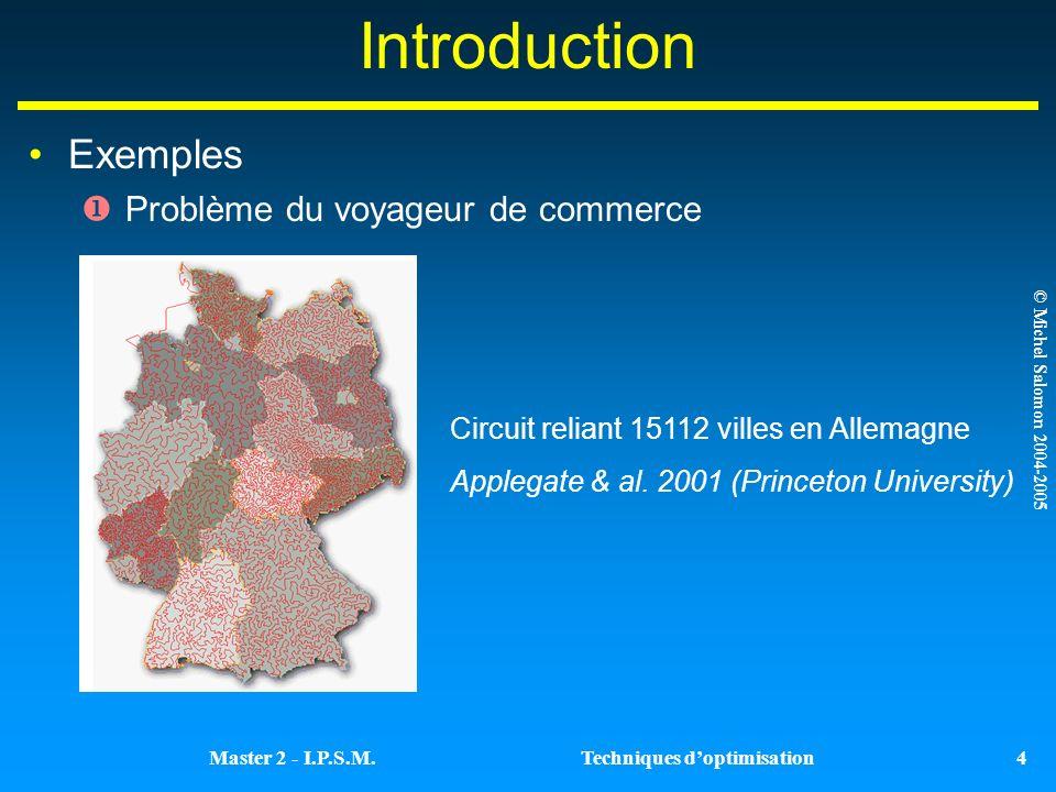Introduction Exemples Problème du voyageur de commerce