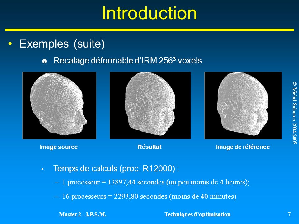 Introduction Exemples (suite) Recalage déformable d'IRM 2563 voxels