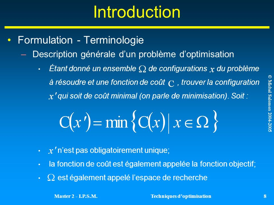 Introduction Formulation - Terminologie