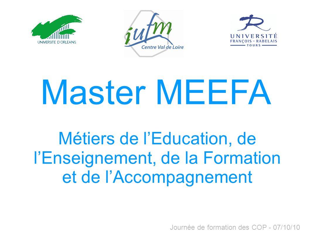 Master MEEFA Métiers de l'Education, de l'Enseignement, de la Formation et de l'Accompagnement